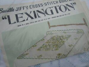 Bucilla Jiffy Stamped Cross-Stitch Quilt Kit Vintage LEXINGTON Double 90 x 103