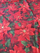 Christmas Tablecloth 83 x 60 Red Poinsettia Flowers Green Holly leaves berries