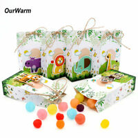 12x Kids Birthday Party Favor Paper Gift Bags Jungle Safari Zoo Animal Candy Box