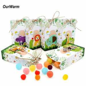 12xSafari Animal Paper Gift Bag Candy Box Jungle Theme Kids Birthday Party Favor