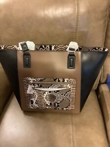 VERA BRADLEY ELLA TOTE LARGE SHOULDER BAG - COFFEE BROWN/BLACK (NWT)