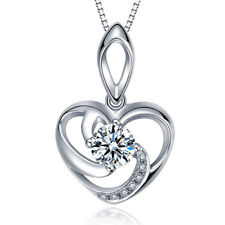 """Womens Sterling Silver Heart Crystal Pendant Necklace Chain Fashion Jewelry 18"""""""