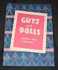Vintage 1951 Guys and Dolls Broadway Theater Program-Allan Jones, Jan Clayton...