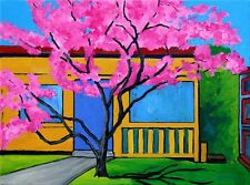 FLOWERING CRAB APPLE TREE ORIGINAL IMPRESSIONIST ACRYLIC PAINTING READY-TO-HANG