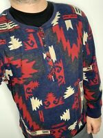 Ralph Lauren Henley Thermal Sweater Shirt RRL Leather Southwestern Polo Rugby ML