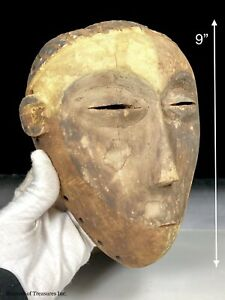 Vtg Older African Tribal Carving Wood KWESE Face Pigmented Mask DR Congo