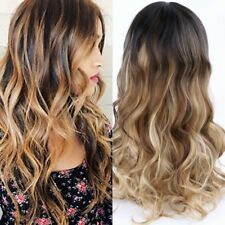 Hot Mixed Color Blonde Brown Long Bob Wavy Hair Wig 24 Inches For Women