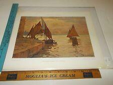Rare Antique Original VTG 1908 Hellwag Venetian Boats Hoffmann Color Art Print