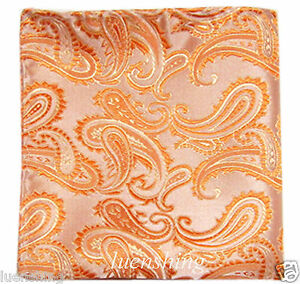 New Brand Q Men's micro fiber Pocket Square Hankie Only paisley Salmon Orange