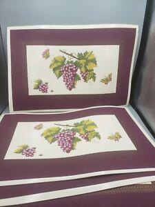 Town & Country Botanical Grapes Placemats Set of 4 Vintage Purple Vinyl