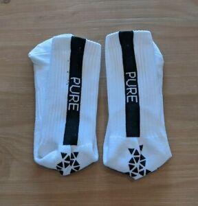 Pure Grip Socks - White w/ Black Grips (Size - Medium)