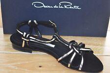 NIB OSCAR DE LA RENTA Womens FYORIA Black/Silver Leather Sandal Size 7 EUR 37