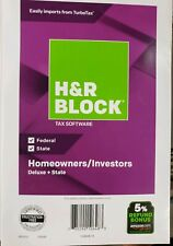 H&R BLOCK Deluxe Federal & State 2018 Homeowner Investors Tax Software CD