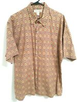 Tori Richard Mens XL Multicolor Geometric Floral Button Up Cotton Lawn Shirt