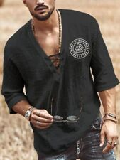 Men's Clothing - Black Lace-up Viking Shirt - XL