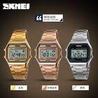 Casual SKMEI Men Women Stainless Steel LED Digital Sport Quartz Wrist Watch Gift