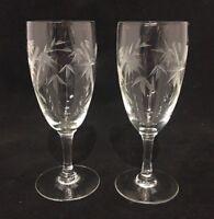 Set of 2 - Vintage Etched Glass Stemmed Cordial Glasses Mini Flutes b805-743