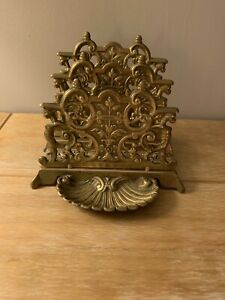 Vintage Ornate Brass Letter Rack key dish stamp tray regal cottage look Rococo