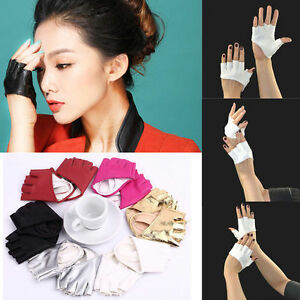 Faux Leather Fingerless Short Gloves Women Rock Gothic Punk Dance Half Gloves