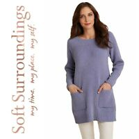 New Soft Surroundings Sz L Cozy Ribbed Chenille Pullover Sweater Tunic Wisteria