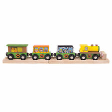 Bigjigs Rail Wooden Safari Train Engine and Carriages, Railway Animal Accessory