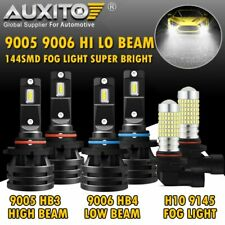 AUXITO 9005+9006+9145 LED Headlight Fog Light for GMC Sierra 1500 2500 HD 03-06