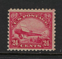 SCOTT C6 1923 24 CENT BIPLANE AIRMAIL ISSUE MH OG F-VF CAT $50!
