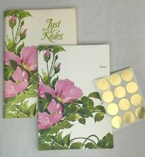 Vintage Current 12 Fold-Over Blank Greeting Note Cards Pink Flowers + Gold Seals