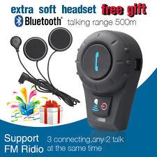 500M Bluetooth Interphone BT Motorcycle Helmet Intercom +Extra flex wire Headset