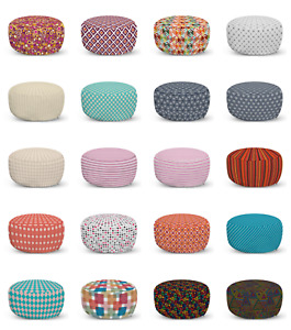 Ambesonne Geometry Rhombus Ottoman Pouf Decor Soft Foot Rest & Removable Cover