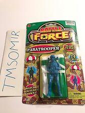 Vintage Ja-Ru Battle Force PARATROOPER w/ PARACHUTE Plastic Toy Soldier Blue