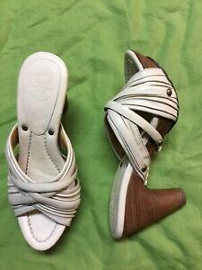 Frye Reese Multi Slide Women Beige Leather Sandal Heels Shoe 7.5M