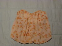 Paper Crown Boutique Sheer Lined Strapless Blouse Top Floral Peach Sz S NWT $145
