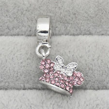 DISNEY STERLING SILVER MINNIE MICKEY MOUSE PINK BEAD CHARM WALT WORLD BRACELET