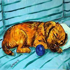 border terrier sleeping on a couch dog art tile coaster