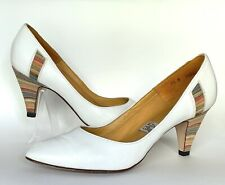 Vintage 80's Town & Country Heels White Leather Pumps Rainbow Heels Sz 9.5N