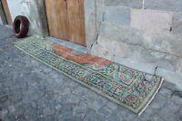 "Vintage Turkish Handwoven Oushak Runner Rug 10'7""x2'4"""