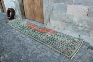 "Vintage Turkish Handwoven Oushak Runner Rug 10'7""x2'4"""