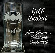 PERSONALISED ENGRAVED BATMAN GLASS ANY NAME MESSAGE GIFT BOXED SUPERHERO GLASS
