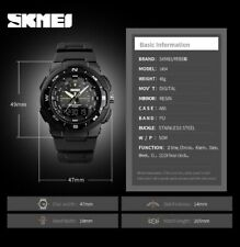 SKMEI 1454 Men Dual display LED Digital PU Luxury Strap Date Clock