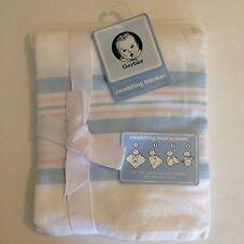 Gerber Baby Blanket Swaddling White Stripe Blue Pink Receiving Newborn Reborn