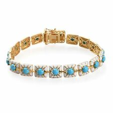 """925 Silver Yellow Gold Over Sleeping Beauty Turquoise Bracelet Size 8"""" Ct 0.5"""