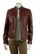 Ladies Burgundy Napa Leather Slim Tight Fitted Short Biker Jacket Bike