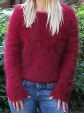 "Ladies Girls Soft Furry Fluffy Burgundy Angora Sweater Jumper>S>32"">£39.99"