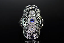 Antique Art Deco 18K White Gold SPIDER WEB Filigree Diamond Sapphire Ring