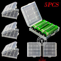 5PCS Clear Hard Plastic Case Holder Storage Box For Rechargeable AA AAA Battery