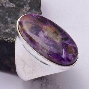 Charoite Ethnic Handmade Men's Ring Jewelry US Size-9 AR 42094