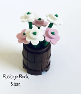 NEW Lego Plant - PINK & WHITE FLOWERS Container/ Brown Barrel - Belville Rare