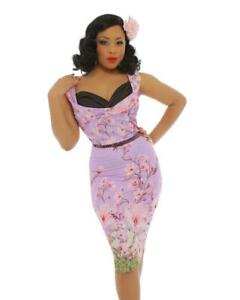 Lindy Bop | Vanessa | Dragonfly Floral Print Pencil Dress | Lilac