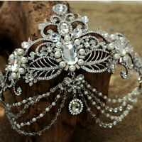 Bridal Pearl Tiara Jewelry Princess Headband,Hairbands Luxury Rhinestone Crystal